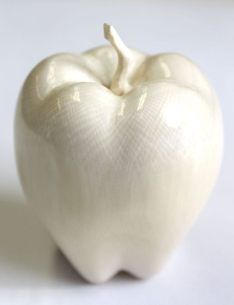 "151: Chinese carved ivory apple - 3"" tall"