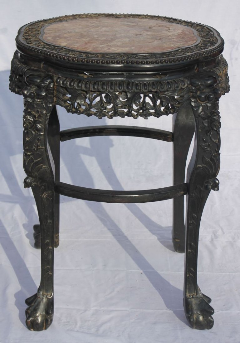 5: Very fine large Chinese heavily carved rosewood tabo