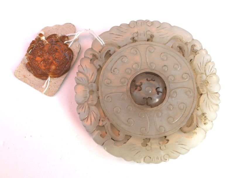 8: Chinese white jade coin pendant with revolving cente