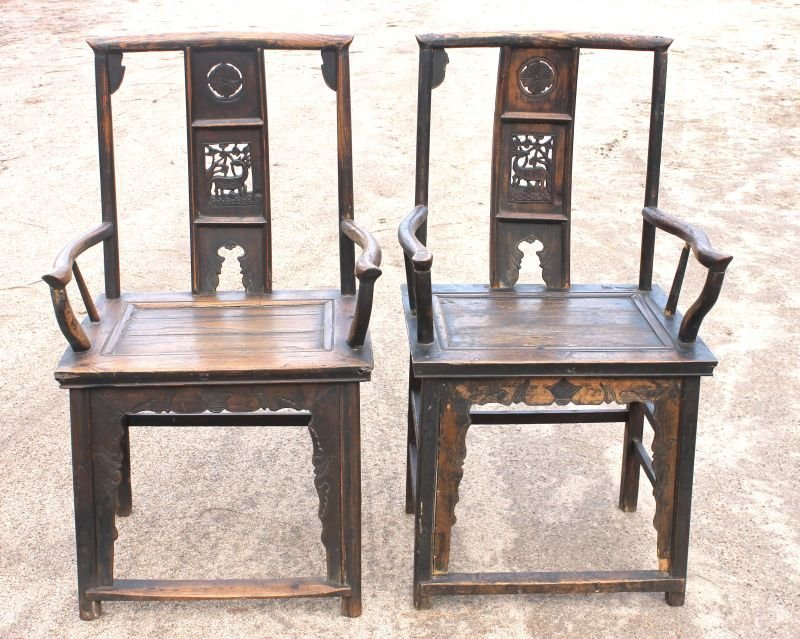 10: pr of Chinese carved rosewood chairs - (as is - mis