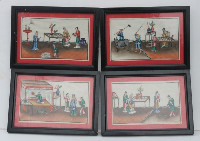 16: Fine set of 4 19thC framed Chinese scenic w/c's on