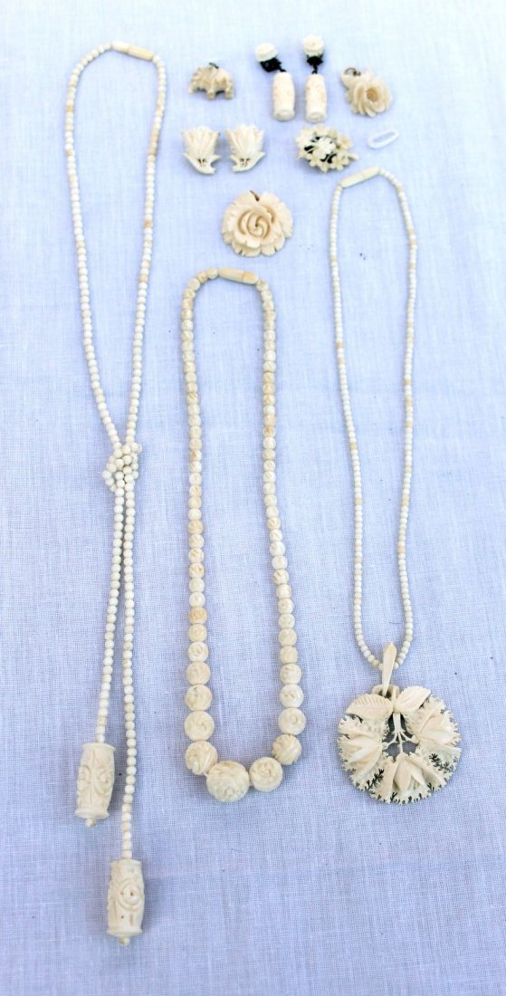 19: Chinese carved ivory jewelry lot incl necklaces, ea