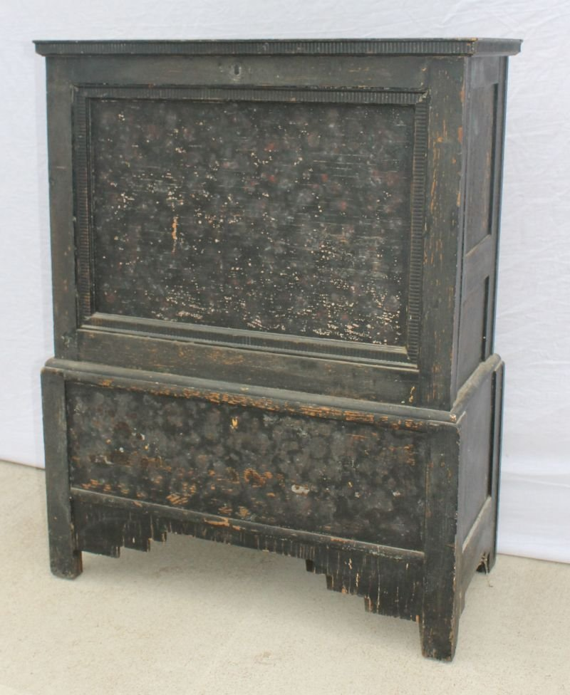 20: Antique Chinese carved panel blanket chest in black