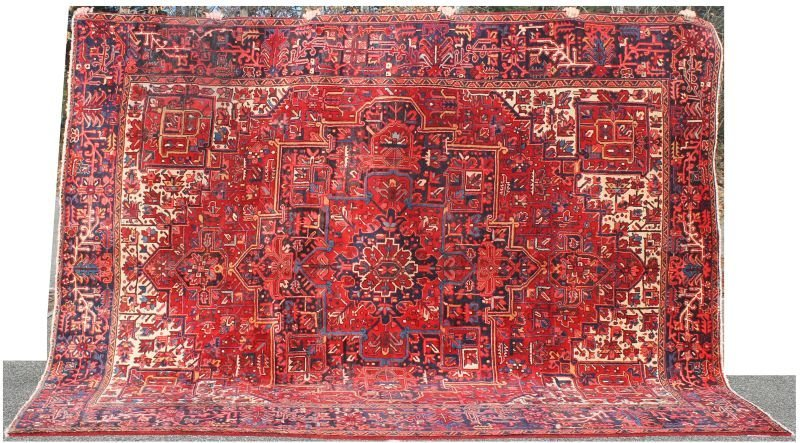 "21: Fine 9'4""x12' semi-antique Persian Heriz rm size Or"
