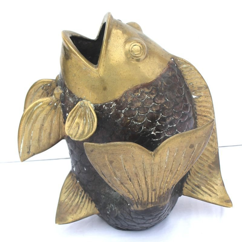 "22: ca 1920's Chinese bronze fish - 13"" tall x 12"" wide"
