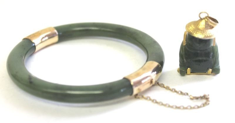 24: Chinese jade bracelet with 14k gold clasp together