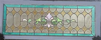 113: antique leaded stained glass window w pink fleur d