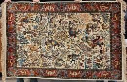 201 4x6 art silk Oriental rug w hunting scene motif