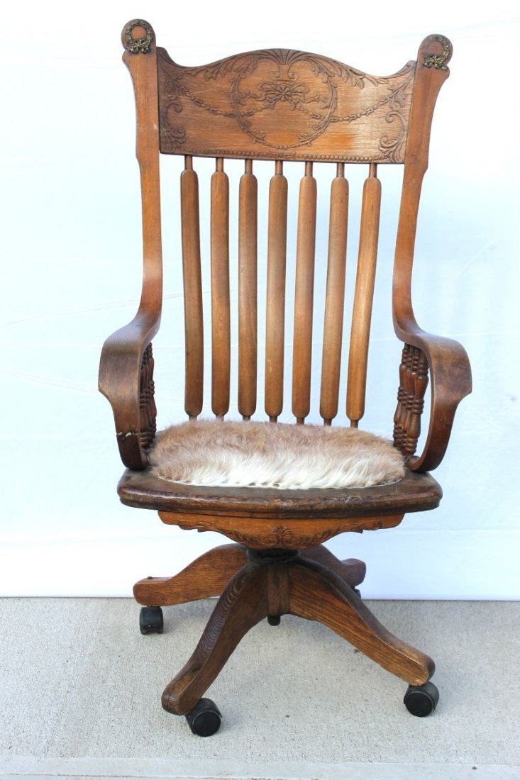 ca 1890's carved oak Bentwood arm swivel desk chair in