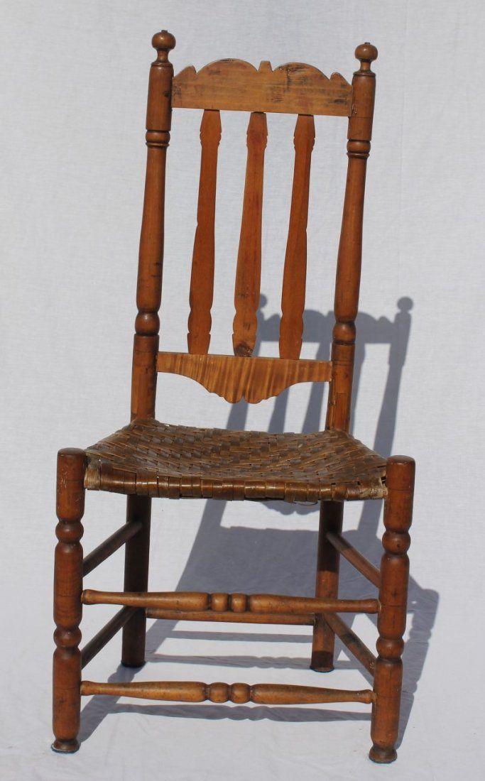 ca 1740 CT maple bannister back sidechair w splint seat