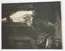 """rare early plate sgnd Rembrandt etching """"Jan Six"""" 1647"""