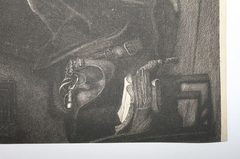 """rare early plate sgnd Rembrandt etching """"Jan Six"""" 1647 - 4"""