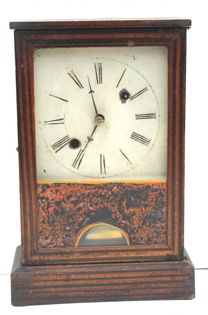 """antique Connecticut Clock Co """"Penny Time"""" grain painted"""