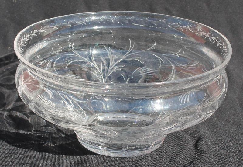 """sgnd Hawkes intaglio carved cut glass bowl - 8"""" diam x"""
