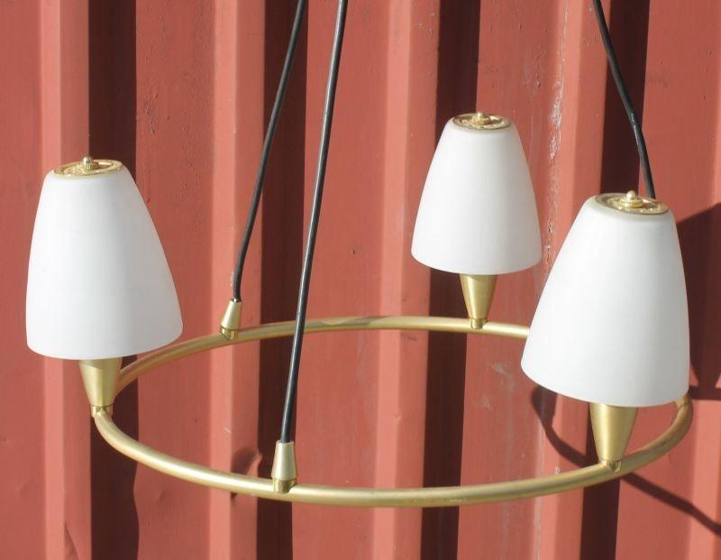 Mid-Century-Modern hanging brass chandelier w white gla