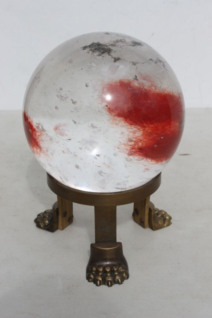 rare rock crystal orb/ball on bronze claw ftd base w re