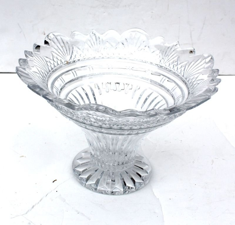 """large scalloped fine quality crystal vase - 8"""" tall x 1"""
