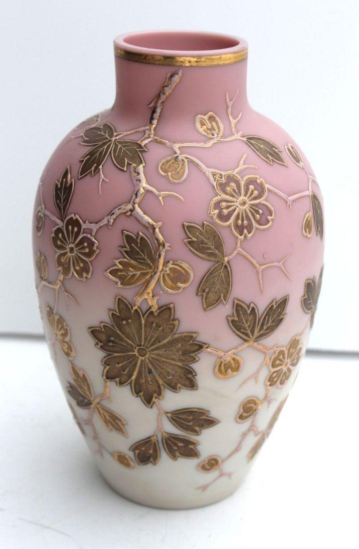 attrib Webb Burmese vase w enamel gilt floral blossom d
