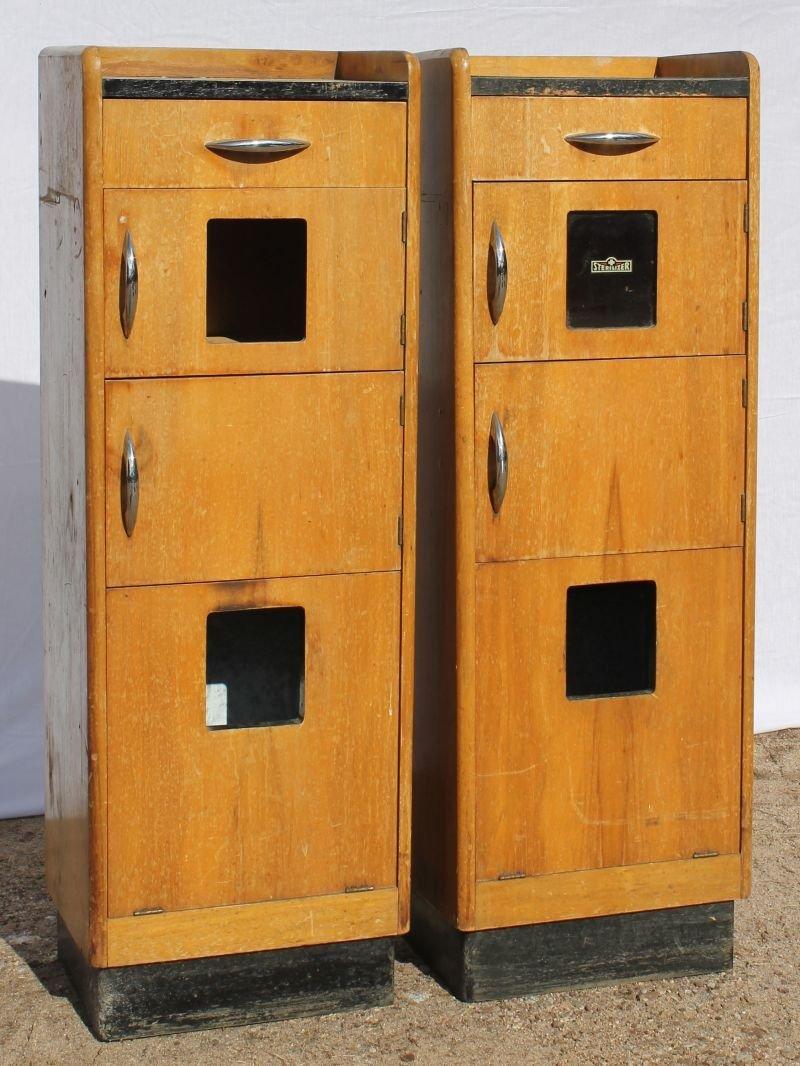"pr of Art Deco medical/ dental cabinets -44"" tall x 11"