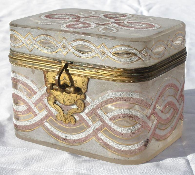 great quality antique art glass casket/jewel box w hand
