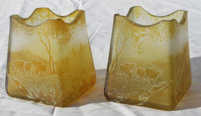 unusual pr of probably Austrian (Loetz?) amber iridesce