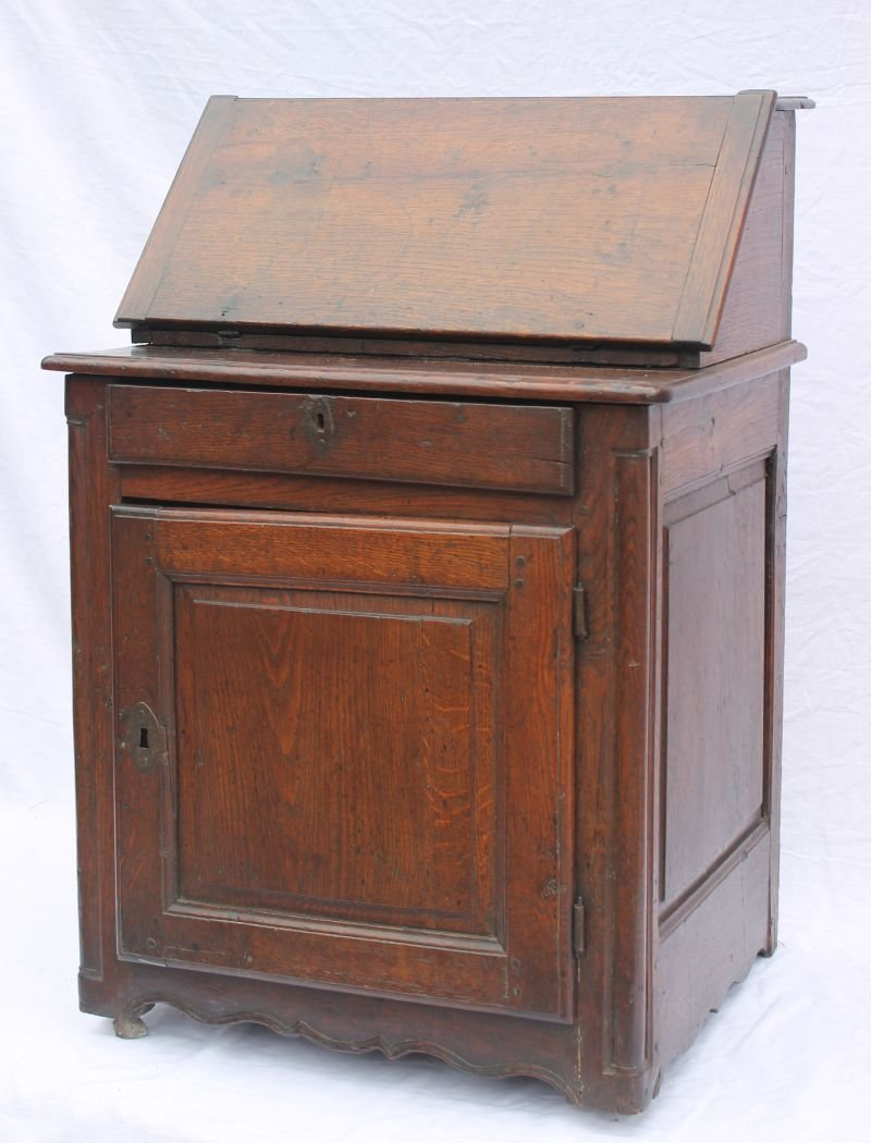 18thC oak rare form desirably diminutive slant lid desk