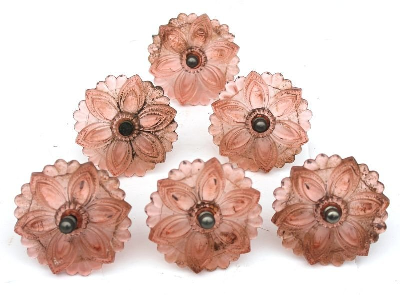 "set of 6 antique rosy pink curtain tiebacks - 3 1/4"" di"