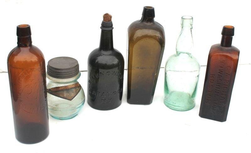 lot of 6 antique bottles