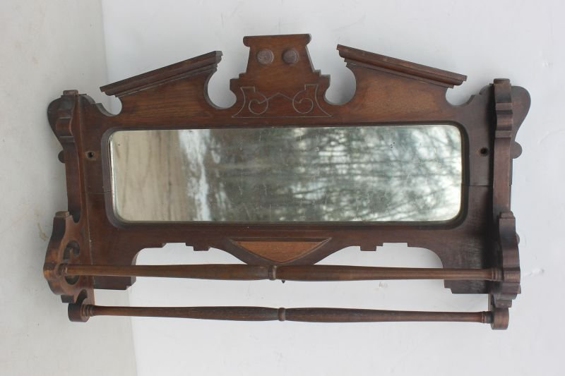 Victorian carved walnut hanging mirror double towel rac