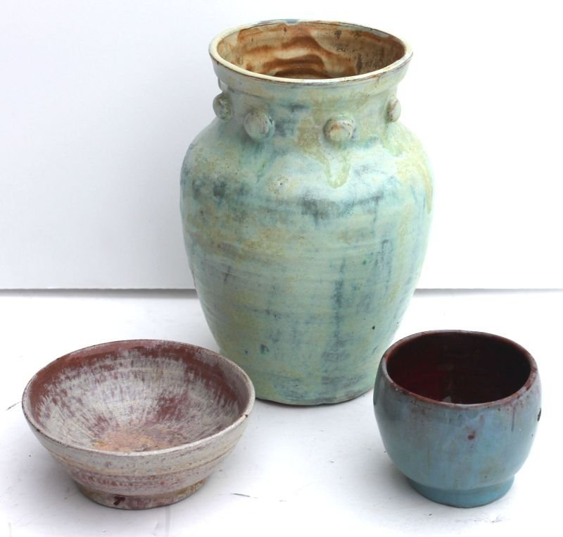lot of 3 pcs of sgnd Plymouth Pottery (Sparrow House) -