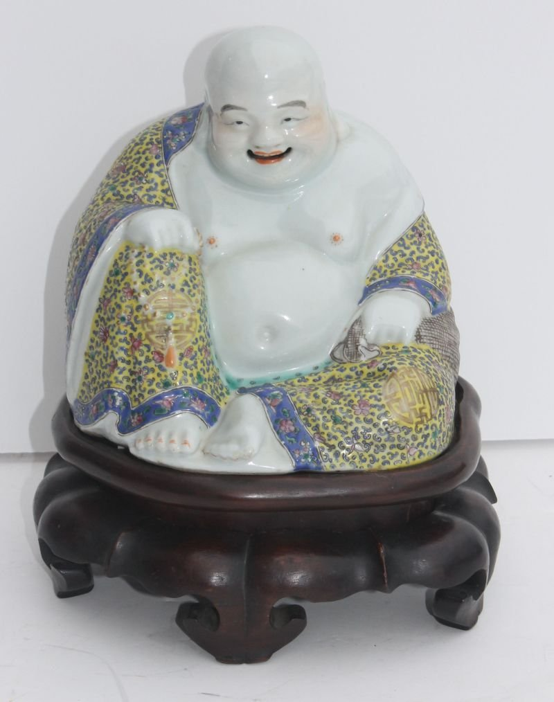 """Chinese porcelain buddha on rosewood stand - 10"""" tall"""