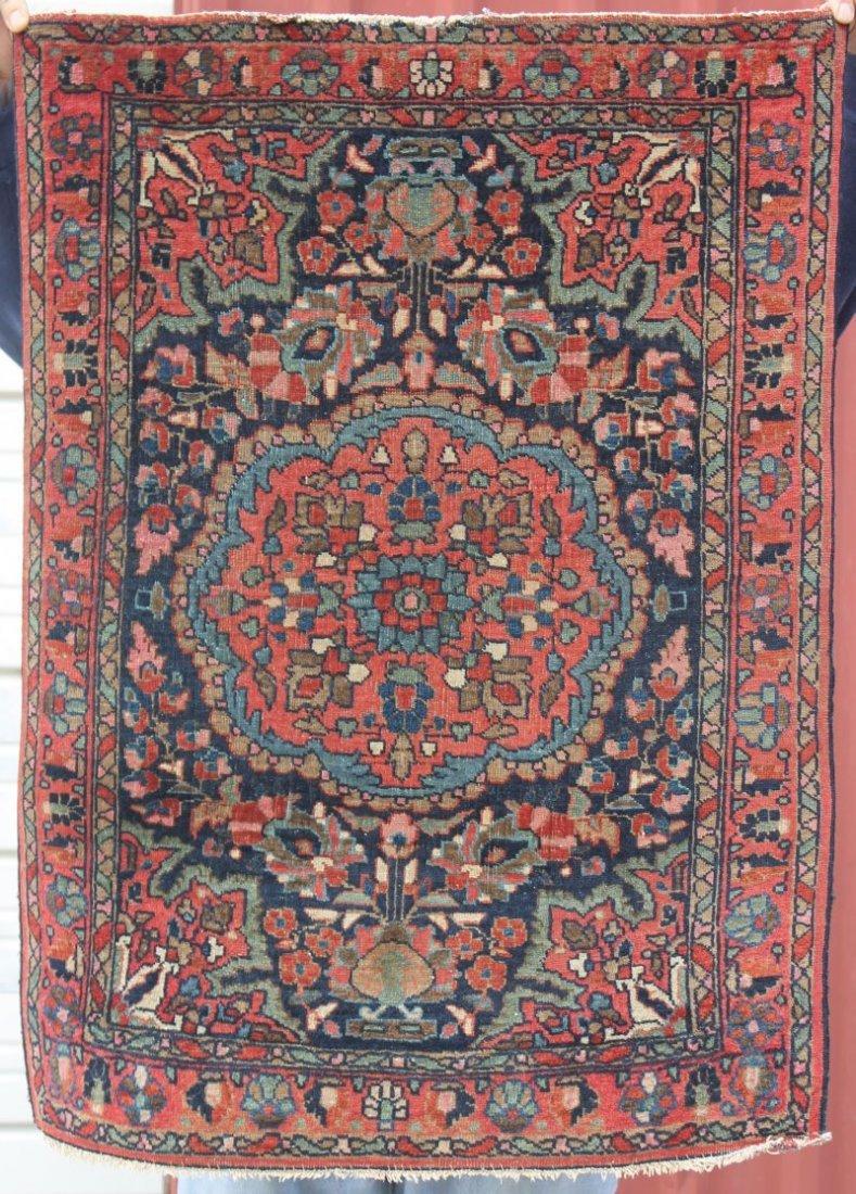 """2'3""""x3'1"""" antique Persian Sarouk Oriental mat"""