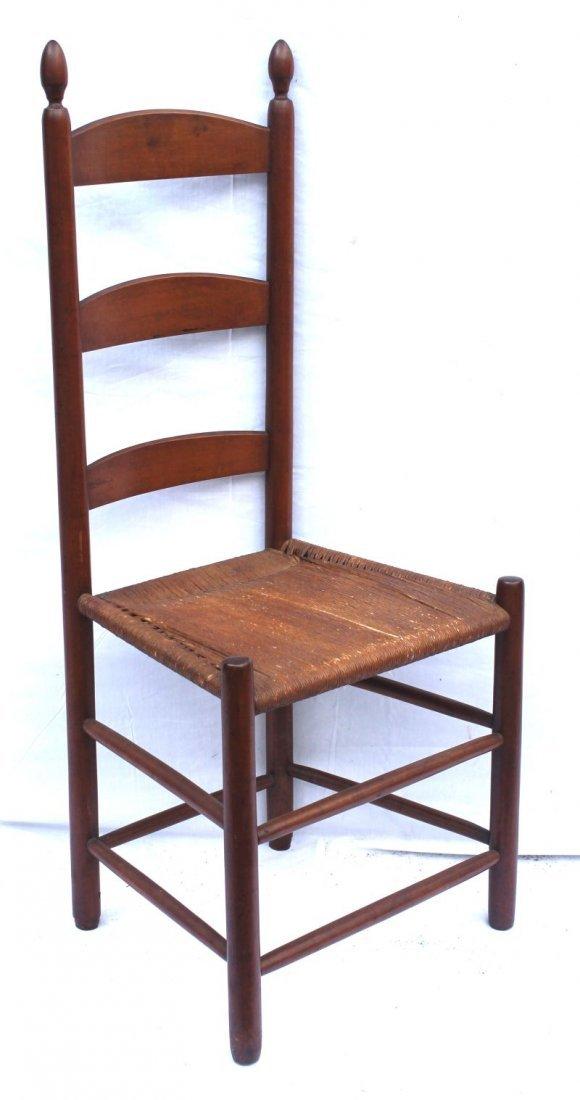 19thC Shaker ladderback side chair w rush seat & rare t