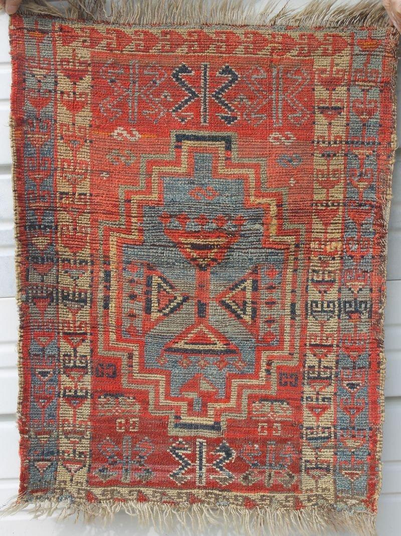 """27""""x22"""" antique Oriental mat"""