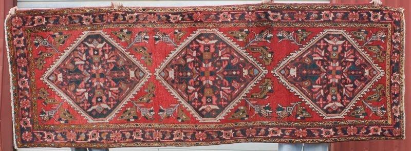 "3'10""x11' semi-antique Heriz Oriental corridor rug"