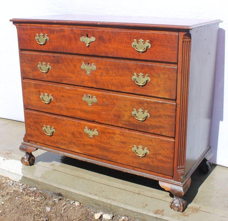 Powerful ca 1750-1770 NY Chippendale mahogany ball & cl