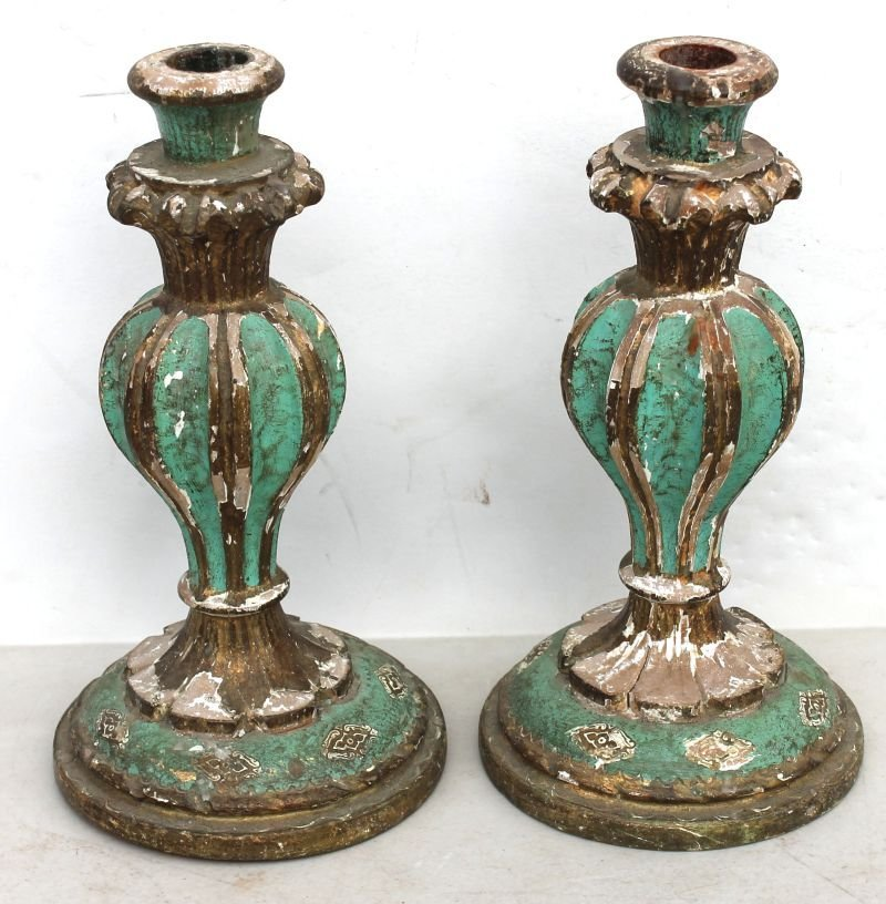 pr of antique Italian wooden carved green painted candl