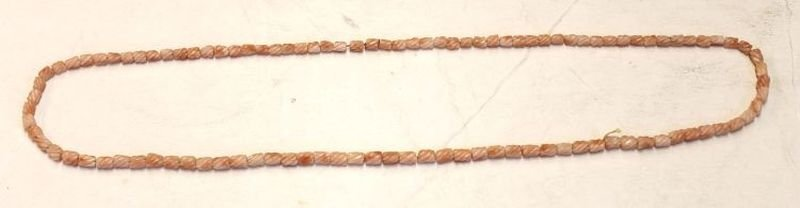 Chinese carved coral bead necklace - 31 1/2""