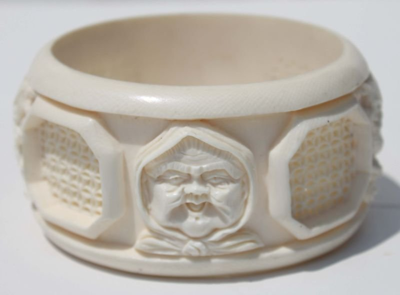 Chinese carved ivory pierced bangle cuff bracelet - 4""