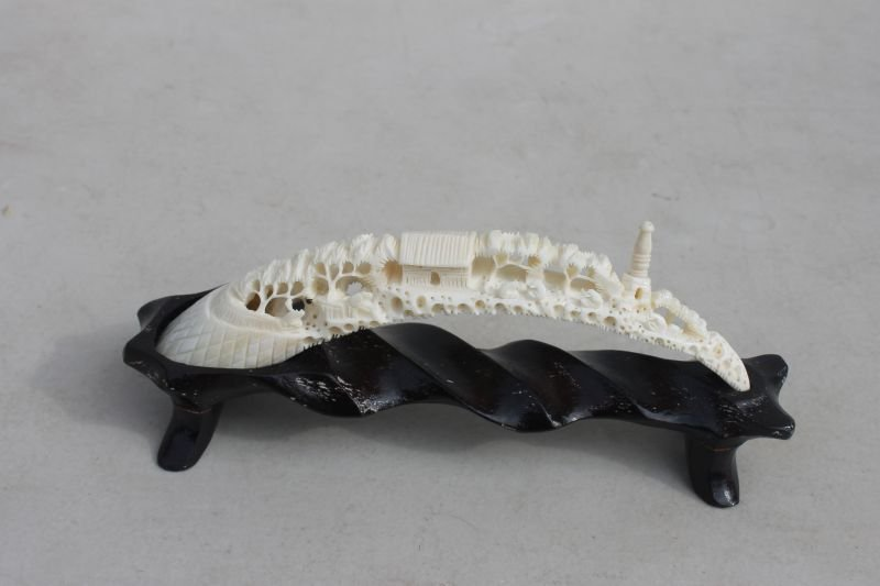 Chinese carved village scenic boar's tusk on stand - 6