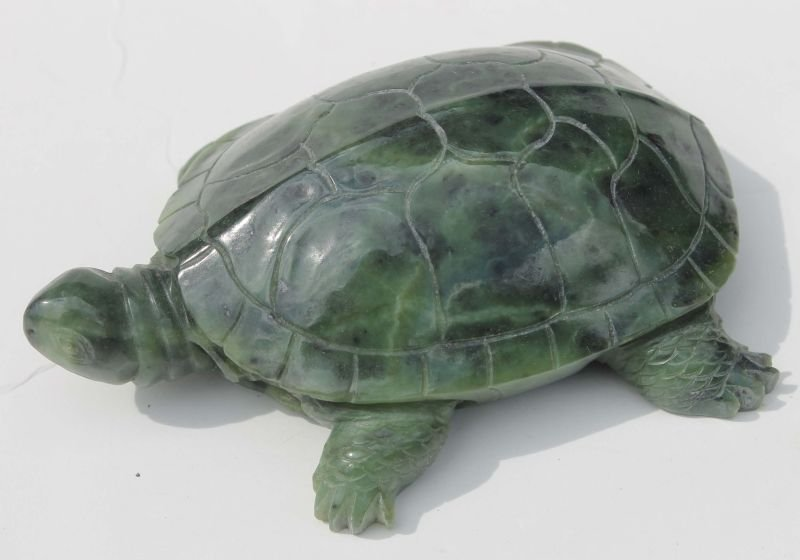 "Chinese carved jade turtle - 5 1/2"" x 3 3/4"""