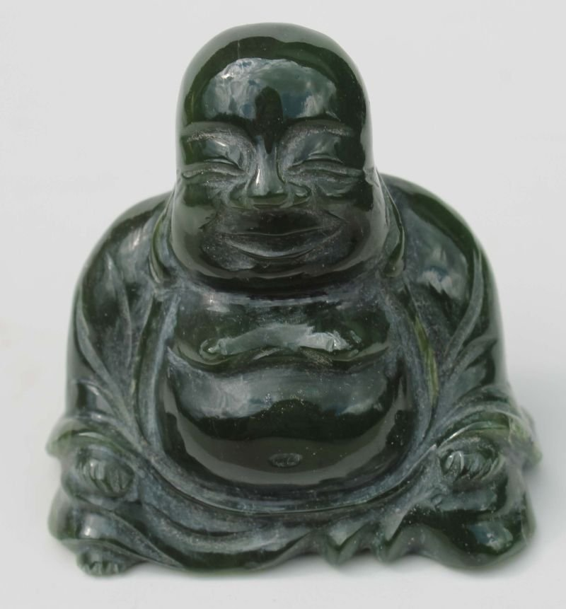 "Chinese carved jade buddha - 2 3/4"" tall x 2 3/4"" wide"
