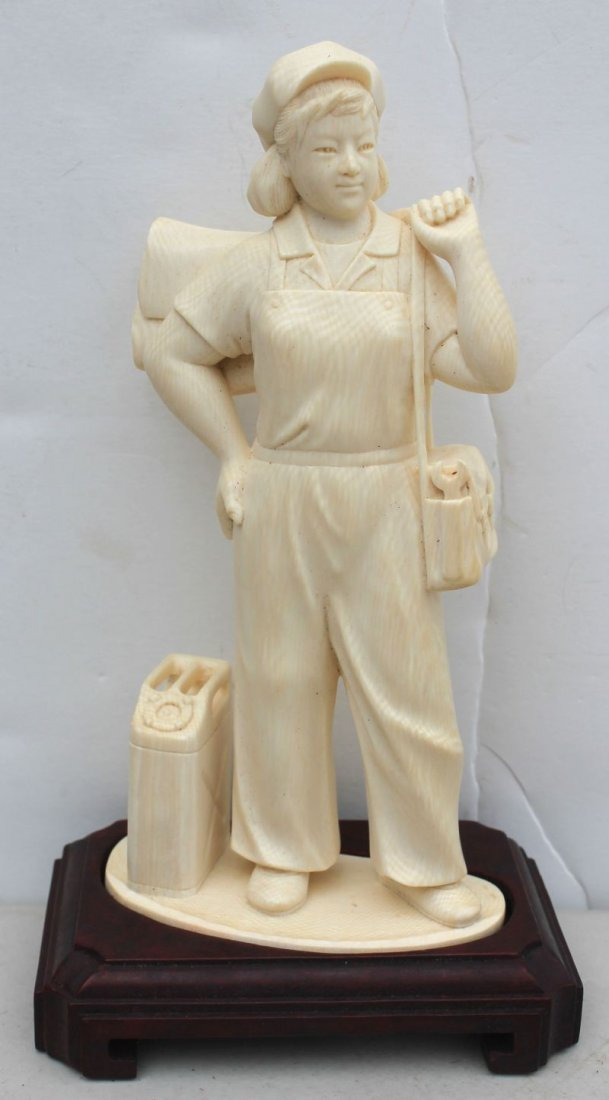 Chinese Cultural Revolution carved ivory figure of a gi