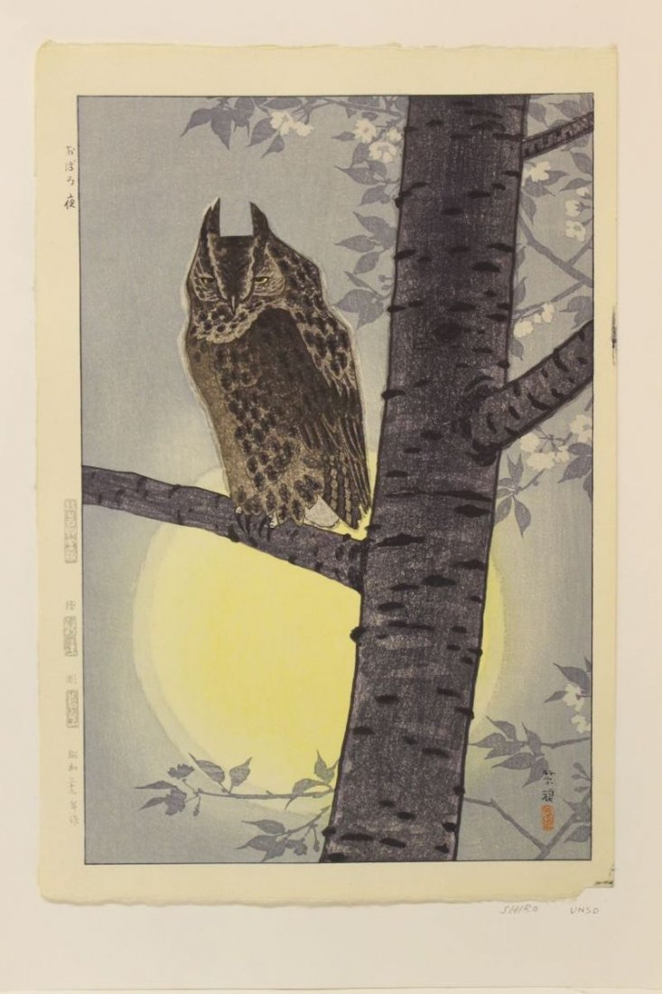 Japanese woodblock print by Shiro of an owl on branch w