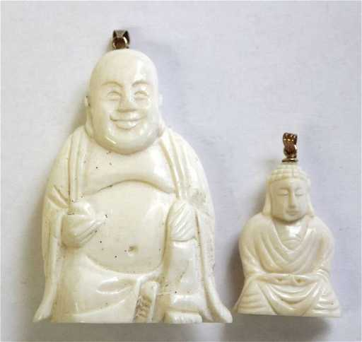 2 chinese carved ivory buddha pendants 1 w 14k gold l mozeypictures Images