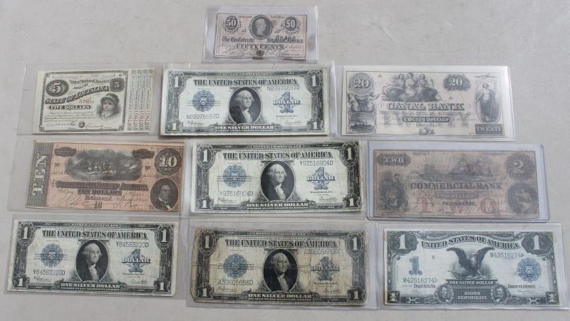 lot of antique paper money incl Confederate, State of L