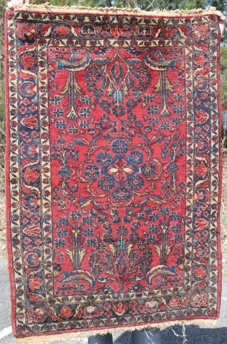 "3'4""x4'8"" antique Sarouk Oriental area rug"