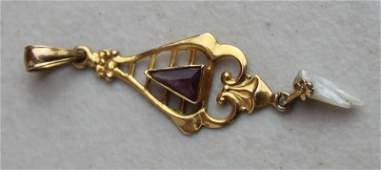 Victorian 10k or 14k gold pendant w seed pearl  amethy