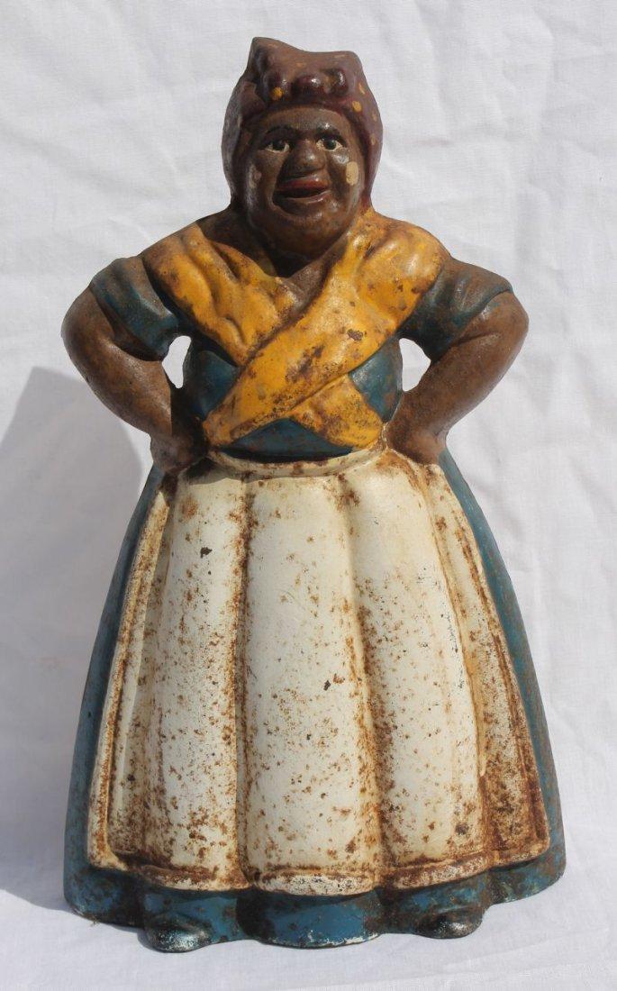large ca 1940 cast iron Aunt Jemima door stop in orig p