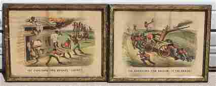 pr of Currier  Ives ca 1880 Dark Town Fire Brigade p